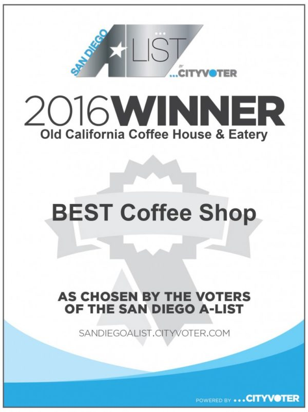 Voted Best Coffee Shop in San Diego 2016